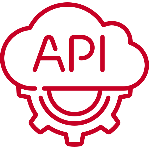 red API data cloud icon
