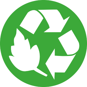 Green image with recycling logo.