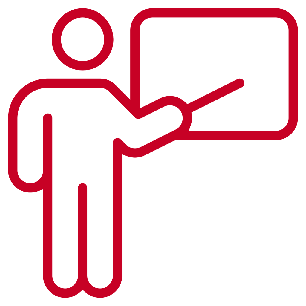 red icon of man pointing to blackboard