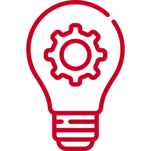 red light bulb icon with gear in center