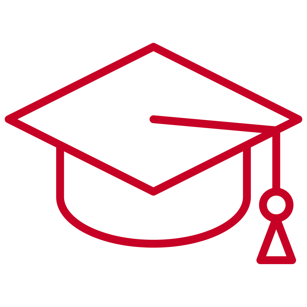 Red graduation cap icon