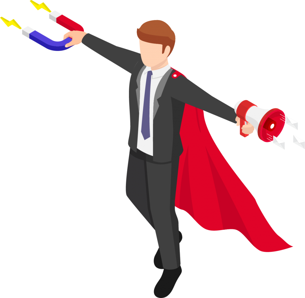 Flying cartoon man in suit with cape, magnet in one hand, and megaphone in the other.