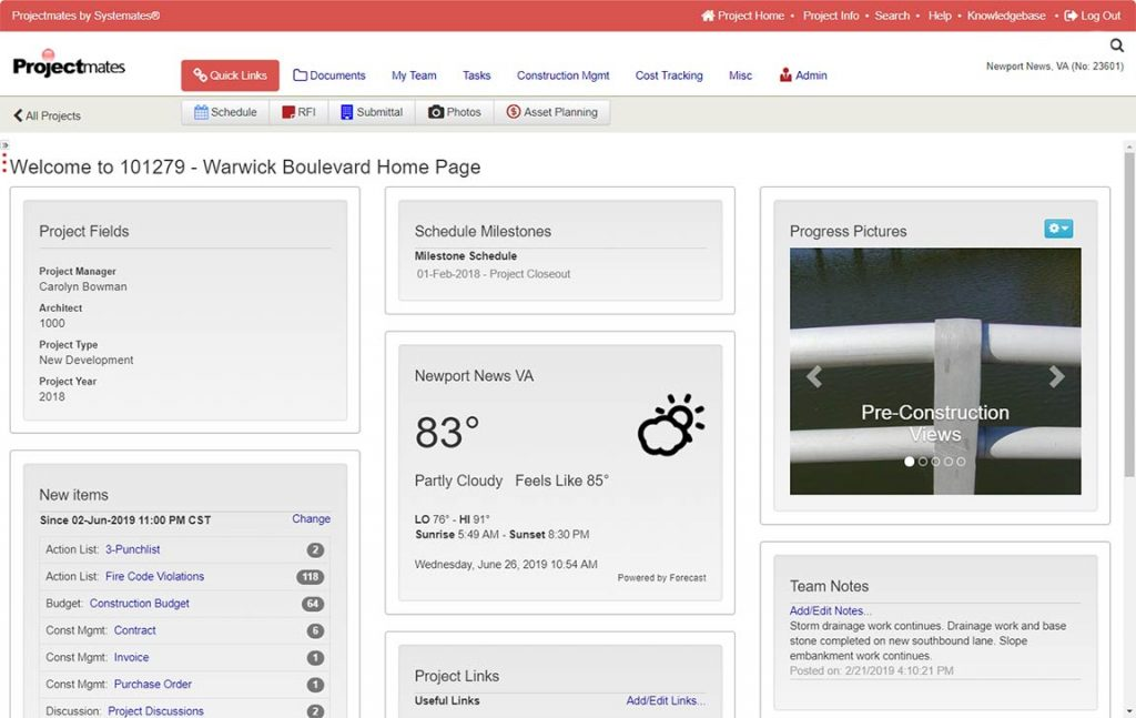 Dashboard of a construction project showing weather, photos, etc.