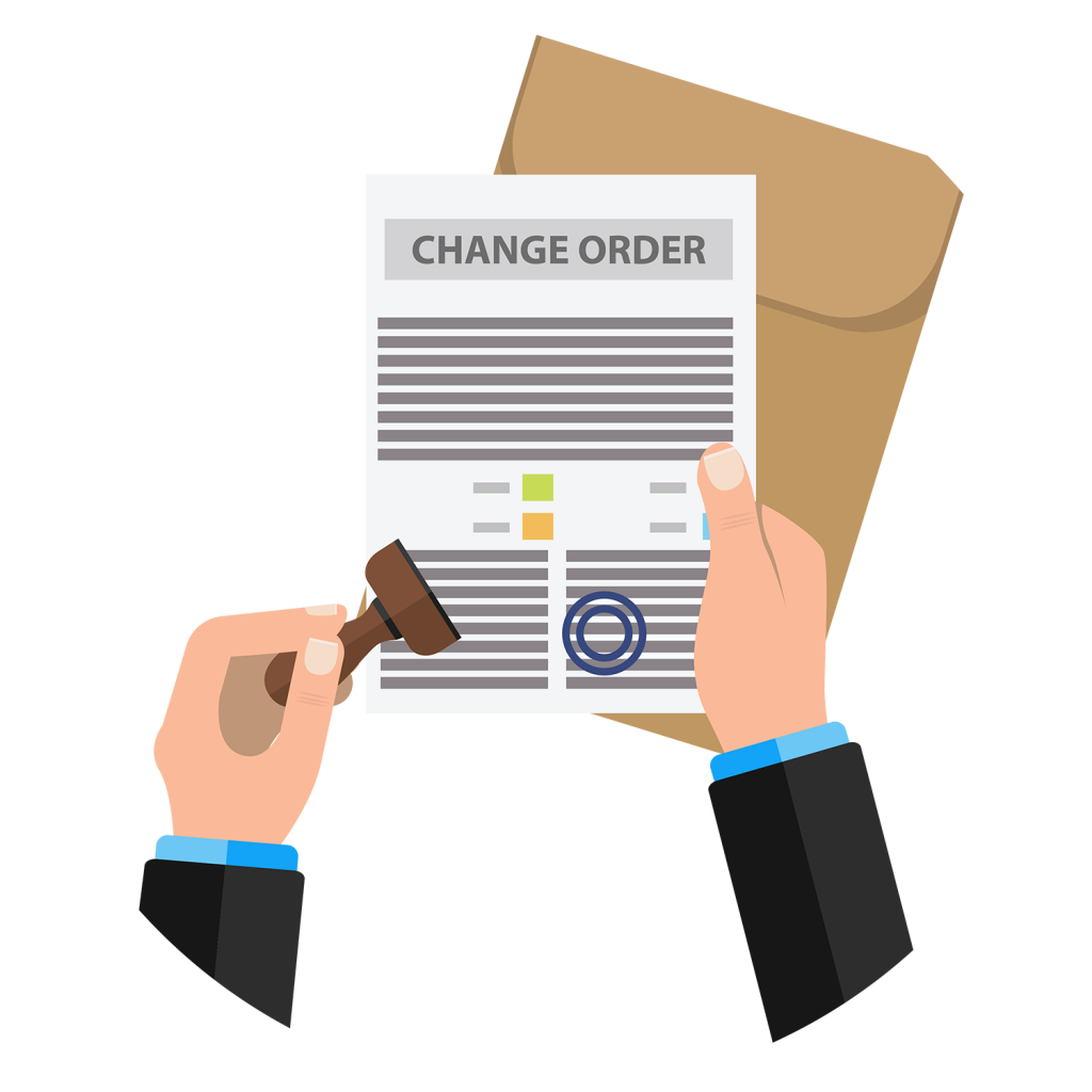Change order for construction being stamped for approval.