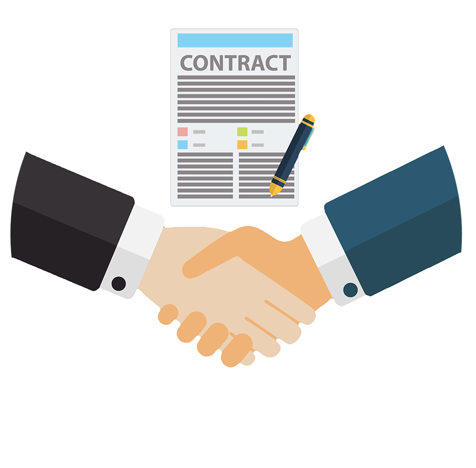 Shaking hands over a construction contract.