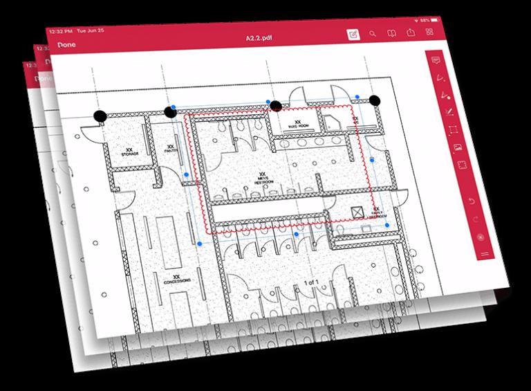 Layered screenshots of PDF document markup.