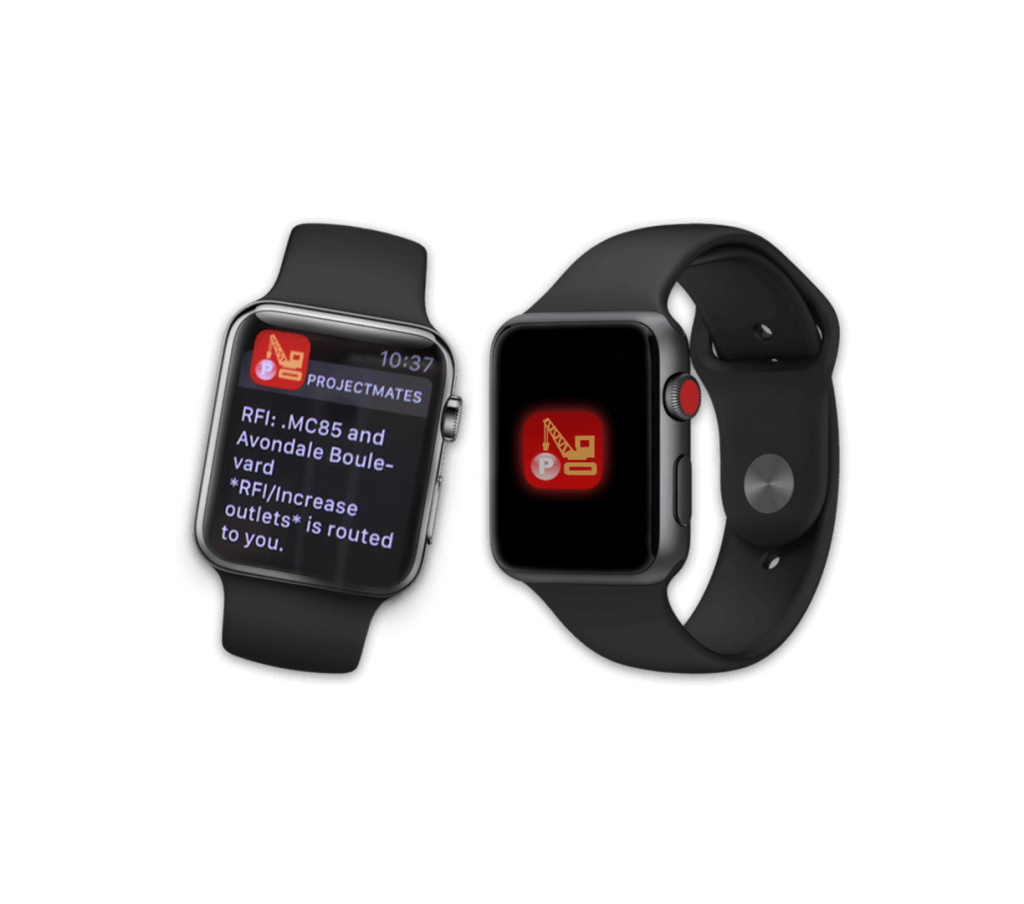 Apple Watch displaying a notification of RFI route.