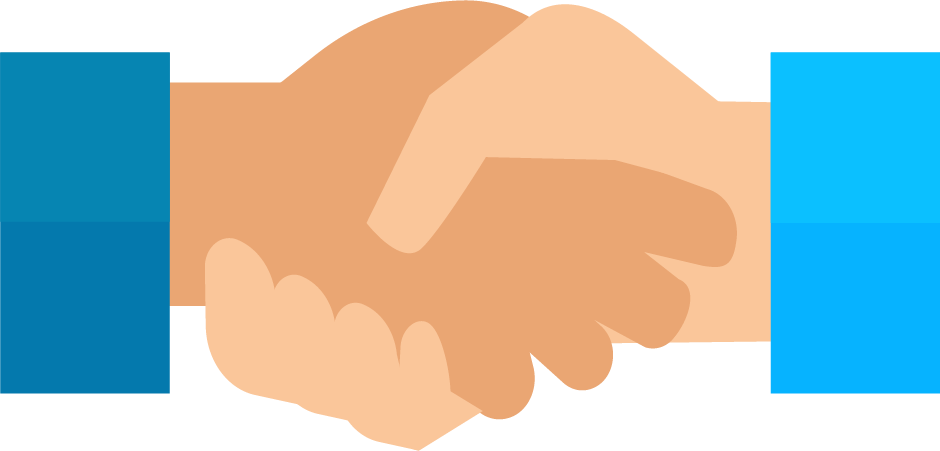 Cartoon hands shaking over deal.