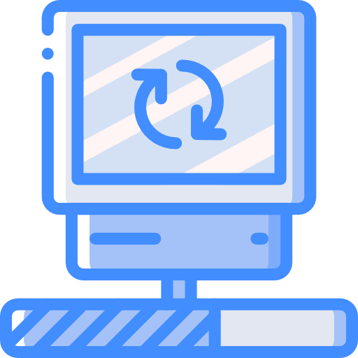 Cartoon image of computer rebooting and loading.