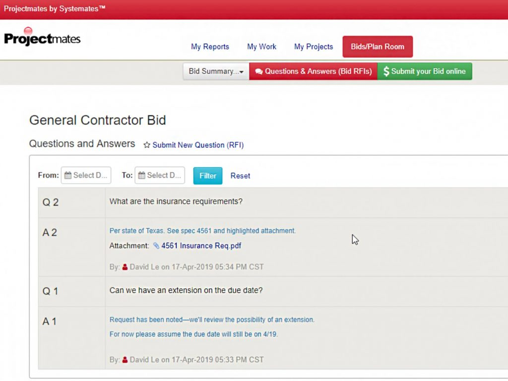 Screenshot of General Contractor Bid plan on Projectmates
