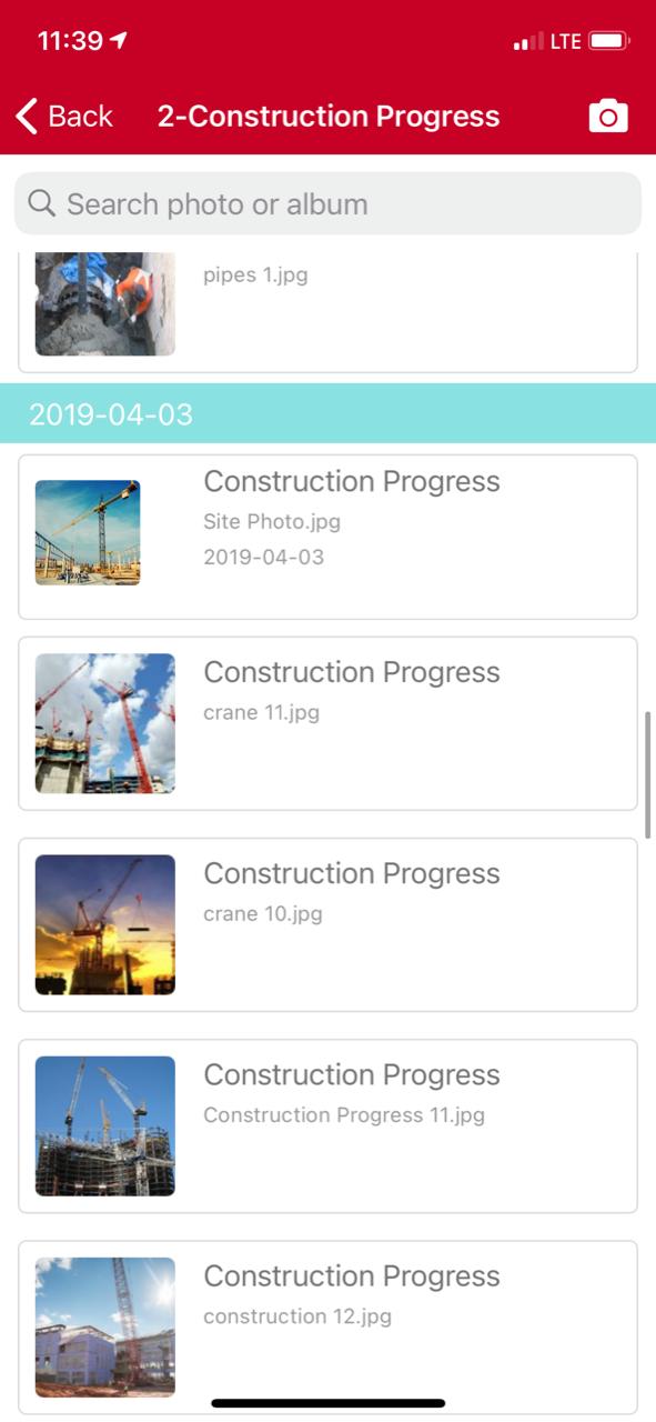 Projectmates app displaying construction progress photos