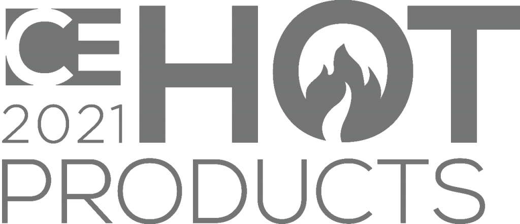 Grey logo of CE hot products 2021